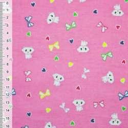 Фланель розовая котик ш.110