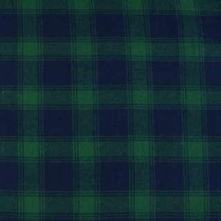 Фланель сорочкова синя в зелену клітку ш.140