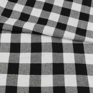 Фланель рубашечная в черно-белую крупную клетку, ш.145