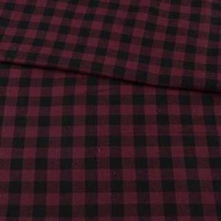 Фланель рубашечная бордовая в черную клетку, ш.145