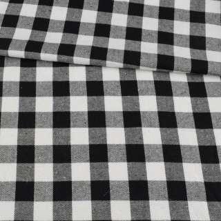 Фланель рубашечная в черно-белую клетку, ш.145