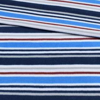 Флис белый в синюю, серую, голубую полоску ш.185