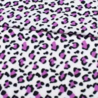 Фліс білий, чорно-фіолетовий принт леопард ш.185