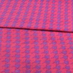 Флис розовый в фиолетовую гусиную лапку ш.190