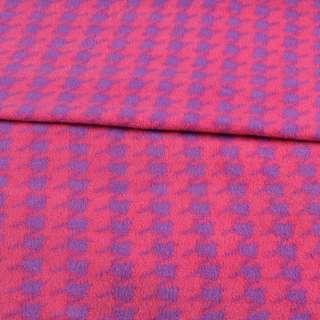 Фліс рожевий в фіолетову гусячу лапку ш.190