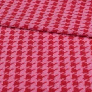 Фліс рожевий в червону гусячу лапку ш.190