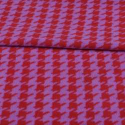 Флис сиреневый в красную гусиную лапку ш.190