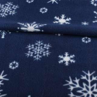Флис синий  в белые снежинки, ш.165