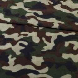 Фліс зелено-чорно-коричневий камуфляж ш.160