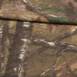 Фліс камуфляжний пісочно-зелений з листям ш.165