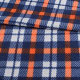 Флис синий в белую, оранжевую клетку, ш.160