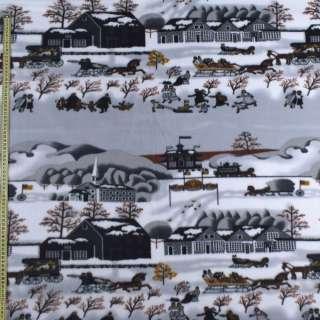 Флис серый зимний город, ш.160