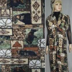 Флис бежево-коричневый квадраты с медведями ш.170