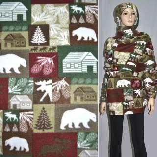 Флис в коричнево зелено бордовые квадраты с белыми медведями и шишками ш.1