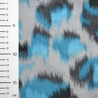 Флис светло серый с бирюзово серой абстракцией ш.160