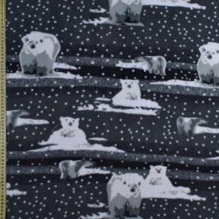 Фліс сірий, білий ведмедик ш.165