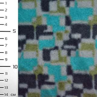 Флис бирюзовый в серо черный геометрический принт ш.160