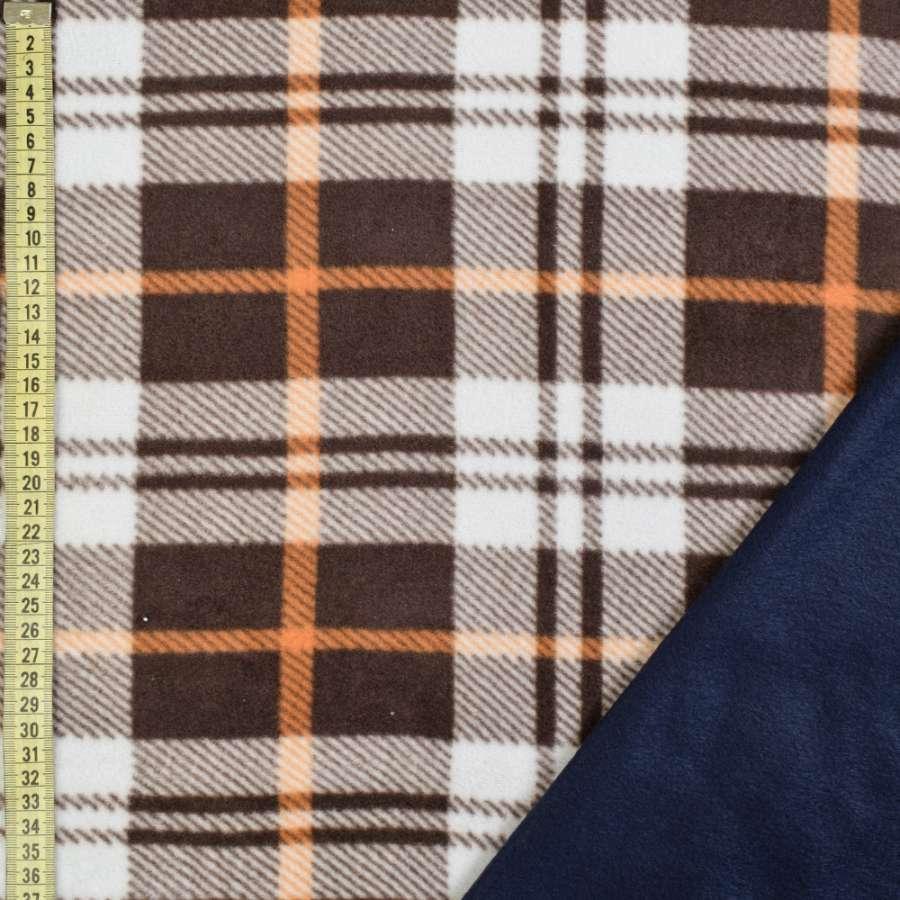 Флис дублированный коричневый в клетку/синий, ш.170