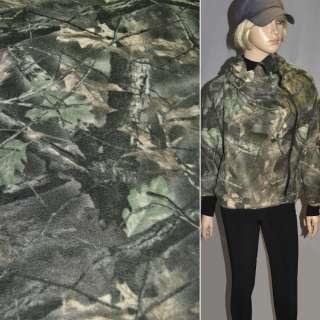 Фліс болотно бежевий з листям ш.160