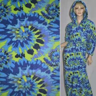 Флис голубой с фиолетово-салатовой абстракцией ш.165