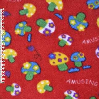 Флис красный грибы ш.160