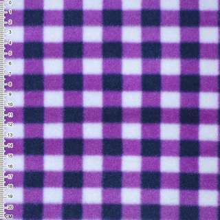 Флис белый в сиренево-черные квадраты ш. 160
