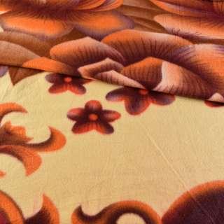 Флис желтый бледный с оранжево-баклажановыми цветами