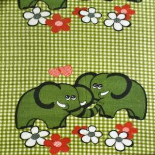 Флис раппорт зеленый слоны