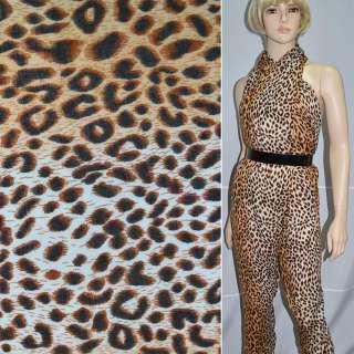 Креп полушерстяной молочно коричневый принт леопард ш.140