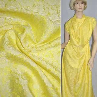 Шовк натуральний жакардовий жовтий, ш.88