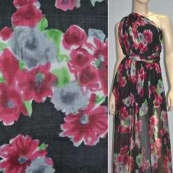 Шелк черный с красно-черными цветами, ш.140