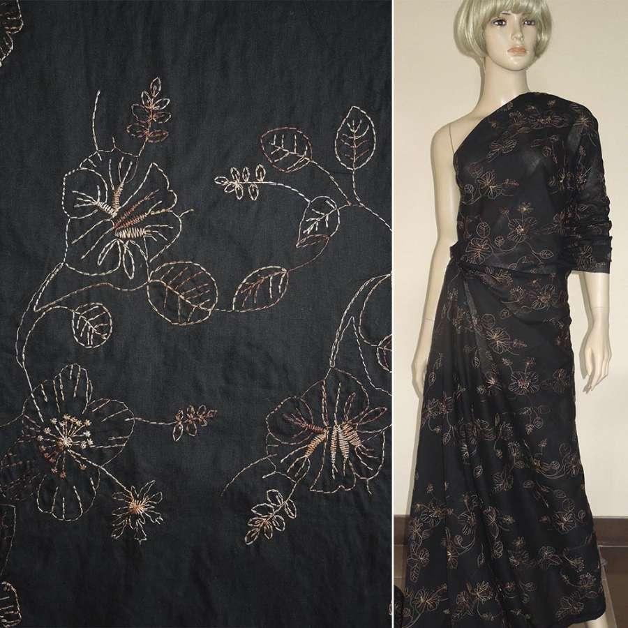 Ткань рубашечная черная с бежевой вышивкой