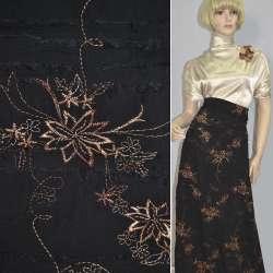 Ткань рубашечная черная с бежевой вышивкой и стрепами