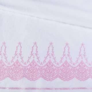 Шиття біле бавовна з вишивкою рожевої облямівка ш.140