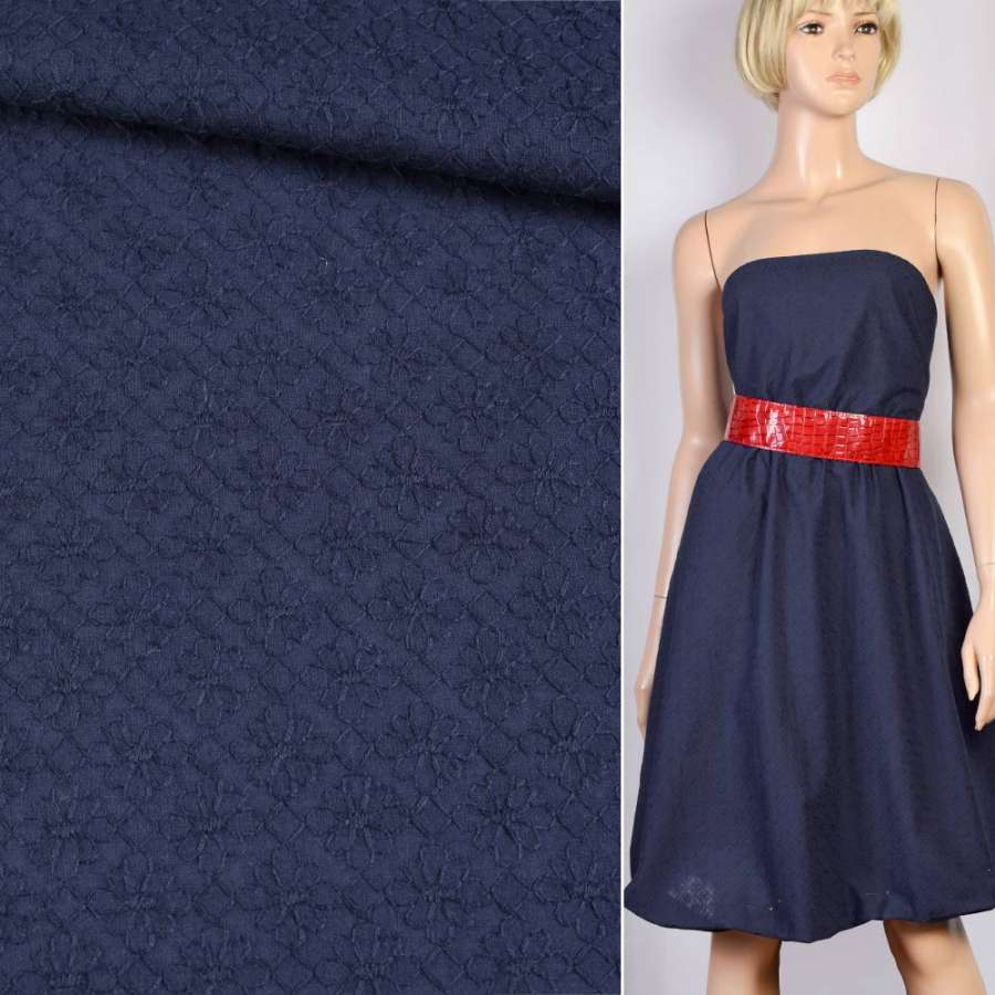Шитье синее хлопок вышивка мелкие ромашки ш.150