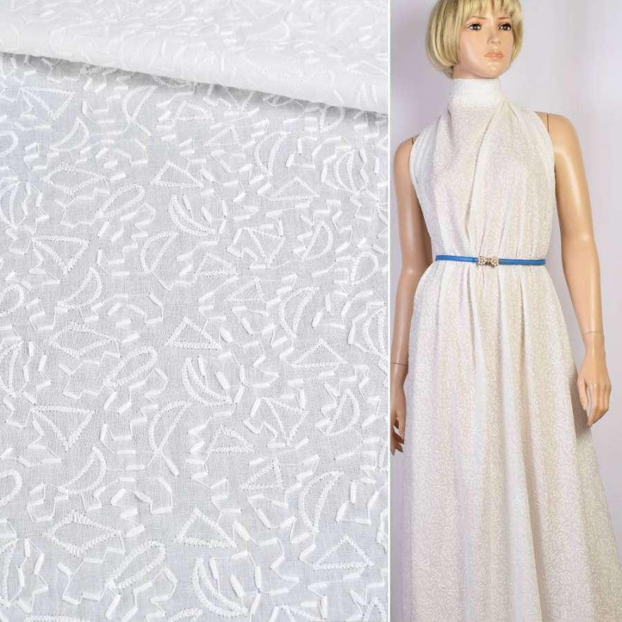 Шитье белое хлопок с вышивкой штрихи узор ш.142