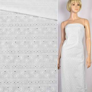 Шитье белое хлопок вышивка полосы цветы ш.138