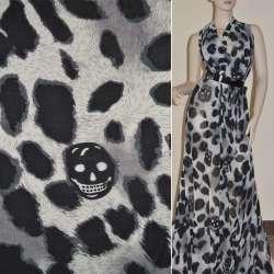 Шифон диллон молочный с черным принт леопард и черепами ш.150
