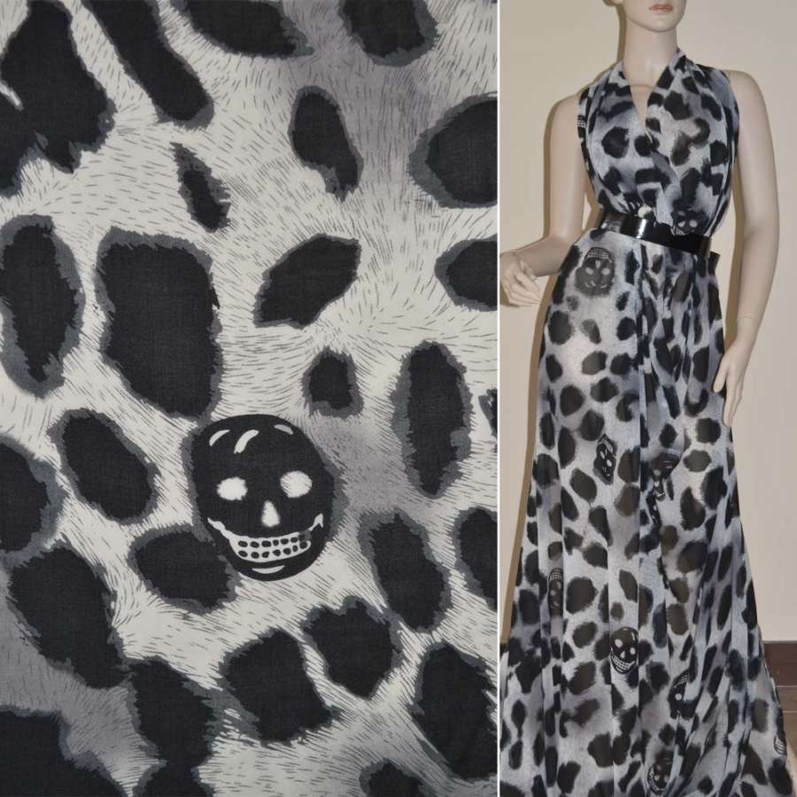 Шифон Діллон молочний з чорним принт леопард і черепами ш.150