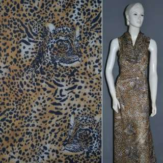 Шифон диллон коричневый светлый с черным принтом леопард ш.152