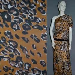 Шифон Діллон коричневий світлий з молочно-чорним принтом леопарда і плямами