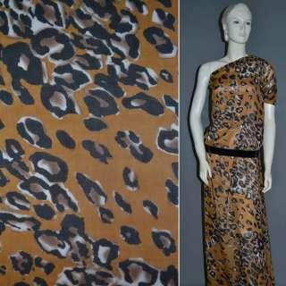 Шифон диллон коричневый светлый с молочно-черным принтом леопарда и пятнами