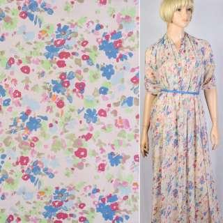 Шифон диллон розовый в голубые, розовые цветы ш.150
