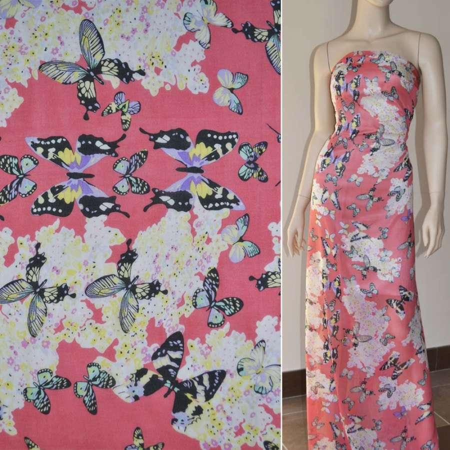 Шифон диллон розовый с цветами и черными бабочками ш.150