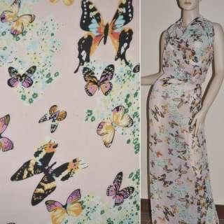 Шифон диллон бледно-розовый с цветами и бабочками ш.150