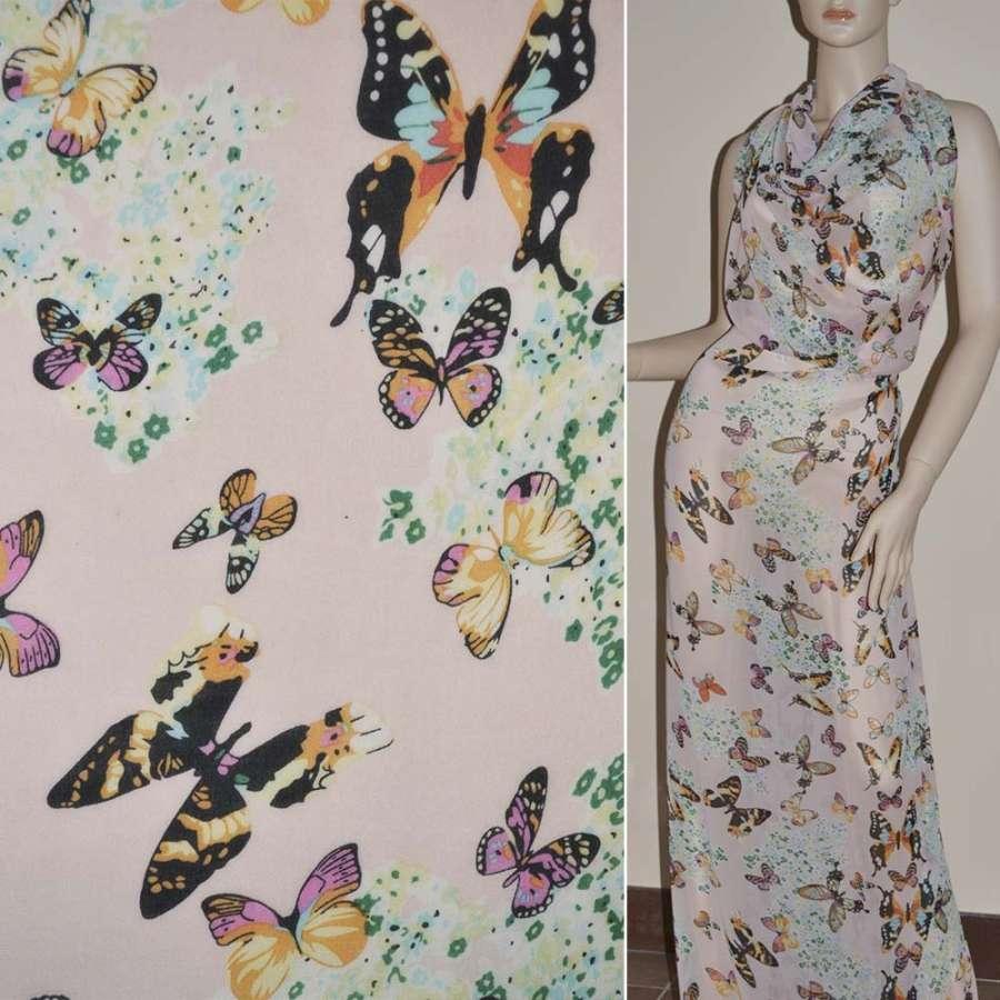 Шифон Діллон блідо-рожевий з квітами і метеликами ш.150
