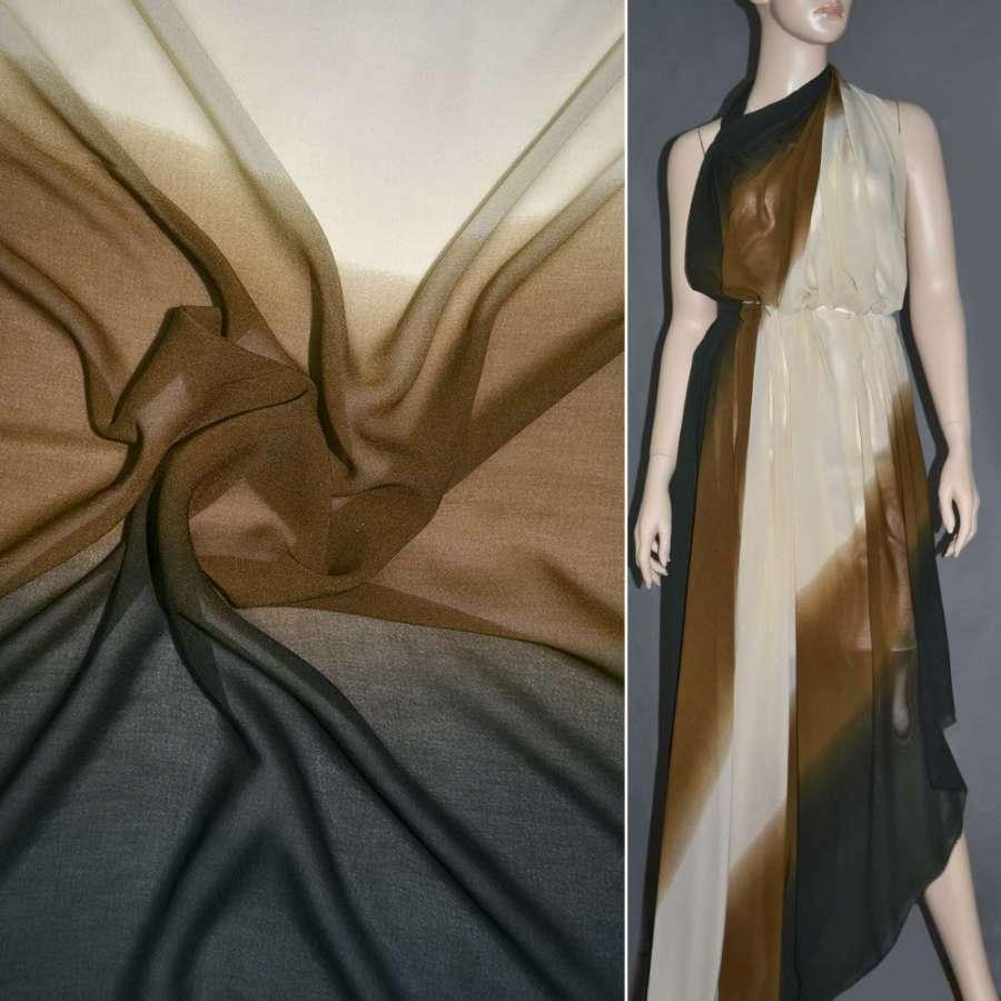 Шифон диллон коричнево-песочно-темно-зеленый радуга ш.150