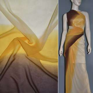 Шифон диллон желто персиково коричневый радуга ш.150