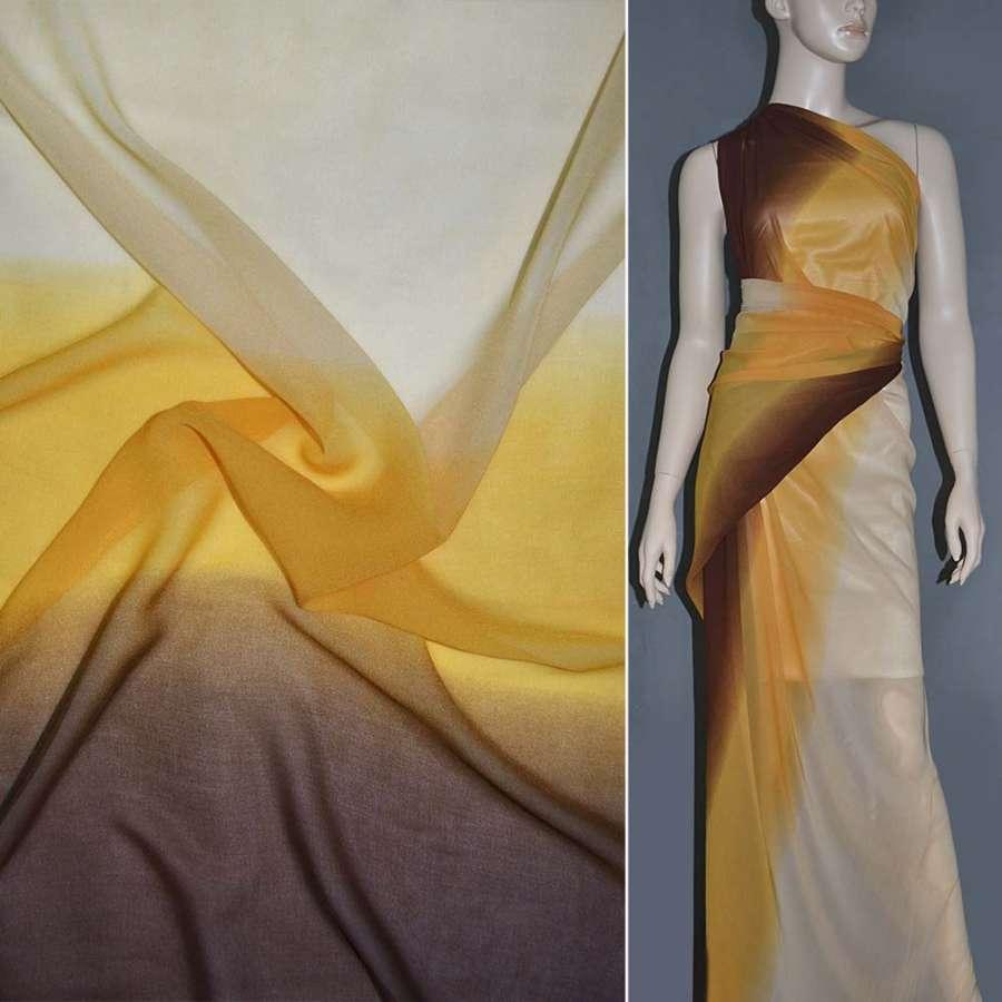 Шифон диллон желто-персиково-коричневый радуга ш.150