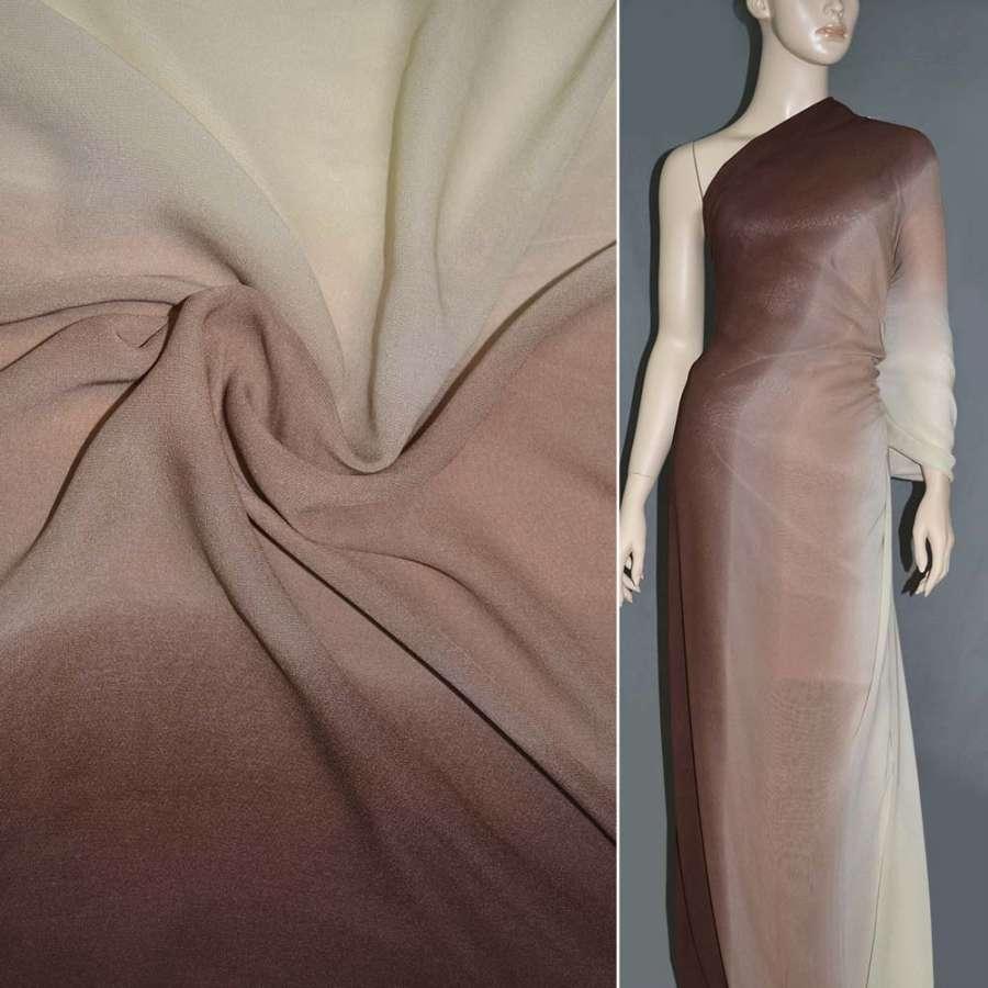 Шифон диллон коричнево-кремово-светло-коричневый радуга ш.150
